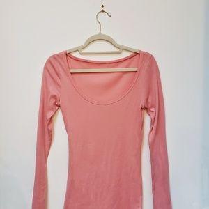 American Apparel Sheer Long Sleeve Scoop Neck Pink